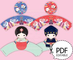 This printable Korean party Cupcake kit add more ethnic aspects for a special Korean style party, especially for 100 days celebration(Bek il) and a