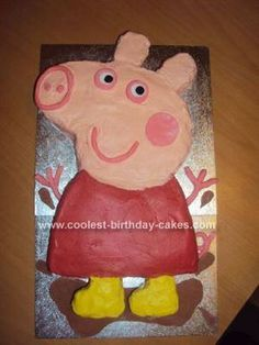 Homemade Twins 2nd Birthday Peppa Pig Cake