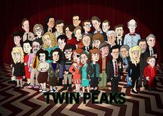 Twin Peaks cast as cartoon characters