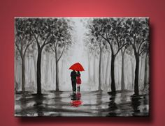 original abstract painting, walking in rain, black white red,love couple,24x18 inch $89.00, via Etsy.