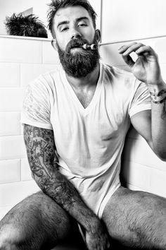 Tattoo, cigar and beard: a portrait of Tristan Harper by Kris Kesiak #beardedman #barbe #barba - Carefully selected by GORGONIA www.gorgonia.it