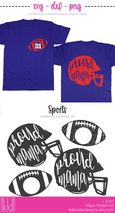 Proud Football Mama SVG Files - includes 2 plain and 2 distressed helmet and football monogram combos | Kelly Lollar Designs