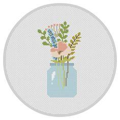 Flowers PDF Cross Stitch Pattern Flower Arrangement Modern
