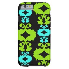 Funky Neon Green Teal Damask iPhone 6 Case