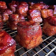 Pork belly shots, anyone?  @julesfood⠀ ------------------------------------------⠀ #Traeger #TraegerGrills #TraegerBBQ #Pork #PorkBelly #BurntEnds #BBQ
