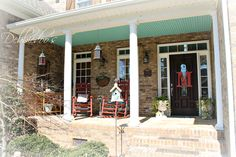Southern rustic porch with traditional haint blue ceiling. DebbieDoos.com #porch