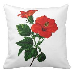 #floral - #Red Tropical Hibiscus Outdoor Pillow
