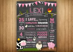 Pink Barnyard Farm 1st Birthday Poster Chalkboard Sign Firsts Favorites Likes Loves Stats Pink Girl