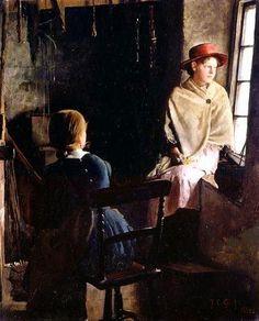 Thomas Cooper Gotch, A Cottage Interior, Newlyn - 1884. on ArtStack #thomas-cooper-gotch #art