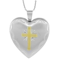 Sterling Silver Heart Locket Necklace 4 Picture Gold Cross 1 inch wide *** Click image for more details.