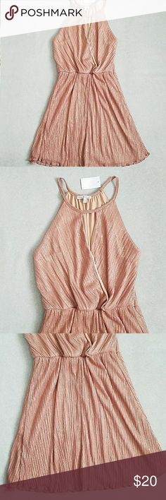 """NWT Charlotte Russe High Neck Dress Dusty rose and gold high neck peephole dress. Elastic at waist. 38"""" in length. Very flattering fit. Charlotte Russe Dresses Midi"""