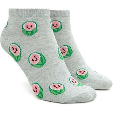 Forever21 Happy Watermelon Ankle Socks ($1.90) ❤ liked on Polyvore featuring intimates, hosiery, socks, forever 21, forever 21 socks, short socks, cotton socks and tennis socks