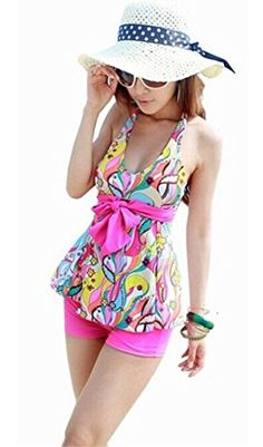 Tragarse Women Halter Floral Tankini Cute Swimsuits YY7 (X-Large1)