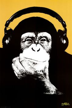 Steez-Headphone Monkey Print in Poster, Canvas, Wood Mount, or Laminate