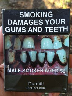 Smoking damages your gums and teeth. Make smoker ages 50. Dunhill Distinct Blue