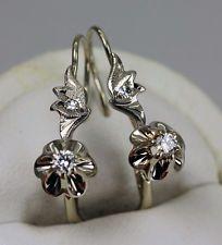 Vintage Russian 18K Gold Diamond Earrings Buttercup Setting