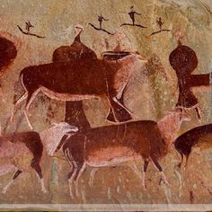 Pigments Used in Ancient African Art :  the prehistoric colour palette used in African cave painting by Bushmen artists consisted mostly of earth pigments. Browns, yellows, orange and reds from ochre; white from zinc oxide; blue from iron and silicic acid; blacks from charcoal or soot. San rock art panel, Gamepass shelter in the Drakensburg Mountains, South Africa