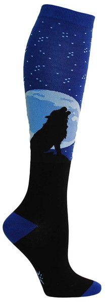 AH-WOOOO! Blue starry knee high socks with a howling wolf silhouetted against the full moon. Fits women's shoe size 5-10.