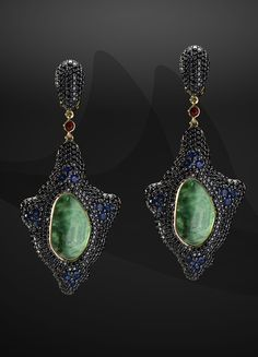 STINGRAY EARRINGS by VOTIVE JEWELRY • Emeralds, Black Diamonds, Red and Blue Sapphires, 18k Yellow Gold