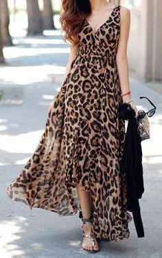 Leopard Print Asymmetrical Dress ==