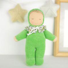 "Waldorf baby doll 6"", cloth baby waldorf doll handmade, velour fabric baby doll, waldorf toddler toy, organic doll, velour waldorf baby doll"