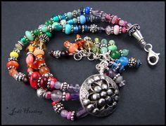 Beadworx - Lampwork and Sterling Silver - Gemstone Bracelet - Mandala. via Etsy.