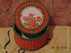 Поделка изделие Плетение Шкатулочка Бумага газетная Трубочки бумажные фото 2