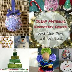 Scrap Material Christmas Crafts: 28 Wood, Fabric, Paper, and Yarn Projects | The best stash and scrap busting Christmas crafts. Recycled crafts save so much money!
