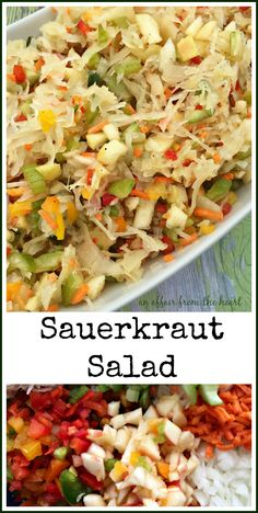 Sauerkraut Salad - An Affair from the Heart - Tangy sauerkraut salad with crisp raw veggies and apples, marinated in a sweet dressing. Perfect as a side dish or to top off burgers, hot dogs or brats. Trust me -- this is one heckuva good salad! Soup And Salad, Pasta Salad, Tomato Salad, Shrimp Salad, Spinach Salads, Ham Salad, Farro Salad, Savory Salads, Taco Salads