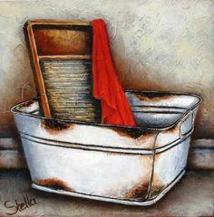 Art by Stella Bruwer white square enamel wash tub wash board and red cloth Primitive Painting, Painting On Wood, Tole Painting, Stella Art, Decoupage Vintage, Country Paintings, Still Life Art, Frame Crafts, Enamel Paint