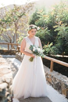 Garden weddings have this amazing backgrounds! Our bride right before the ceremony in Chania. By www.creteforlove.com