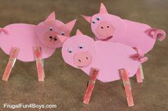 Preschool Farm Unit - Frugal Fun For Boys and Girls Farm Theme Crafts, Farm Animal Crafts, Pig Crafts, Animal Crafts For Kids, 3 Little Pigs Activities, Farm Activities, Craft Activities For Kids, Preschool Activities, Preschool Farm