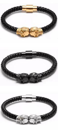 ce1d44f833a57 Genuine Leather Skull Bracelet  3 Variations