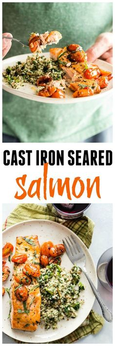 Probably the best seared salmon you will ever taste, and the easiest to cook! Make this for a fast and healthy dinner! My kids love this every time I make it! #salmon #easyrecipes #familydinners #foodnessgracious #delicious #seafood   via @foodnessg