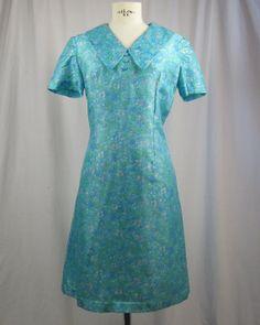 60s Aqua Blue Silk Floral Dress. by AmericanRagVintage on Etsy, $89.95
