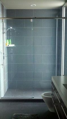 Large format glass tile in showers (steamers) - 4x12 Ocean: Found at https://www.subwaytileoutlet.com/8x12