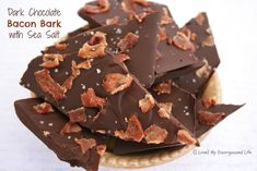 Dark Chocolate Bacon Bark with Sea Salt ... could add slivered almonds. SO MAKING THIS for Holiday Goodie Plates!!!