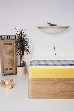 Plywood is the material of the future! Lozi's beautiful new bedroom collection features a stunning minimal bed frame with curved corners, classic whimsical smile shelves and our new floor Fab Lamp, designed to enhance the beauty of filament bulbs.