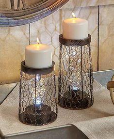 Industrial Pillar Candleholder Lamps
