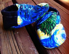 Van Gogh Starry Night Baby Shoes by WithinThePines on Etsy