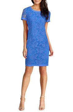 Donna Morgan Lace Short Sleeve Shift Dress available at #Nordstrom