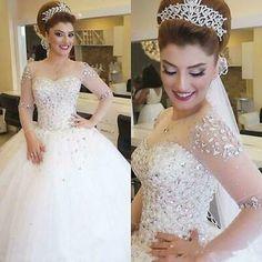 Long Sleeve Bridal Dresses, Long Sleeve Wedding, Wedding Dress Sleeves, Bridal Gowns, Crystal Wedding Dresses, Sheer Wedding Dress, 2016 Wedding Dresses, Gown Wedding, Ivory Wedding
