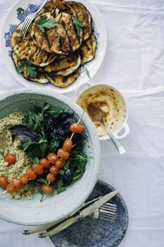 Grilled Harissa Eggplant w/ Burst Tomatoes, Quinoa + Herb Salad by @thefirstmess
