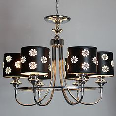 6 Lights, Floral Pattern Chandelier,Country Black Iron Glass Painting – LightSuperDeal.com