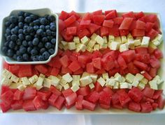 Watermelon, Feta, and Blueberry Flags!