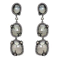 SUTRA Starburst Rose Cut Diamond 3-Drop Earrings