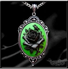 Black Green ROSE CAMEO NECKLACE