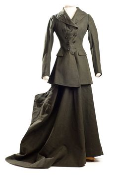 Woman's gray-green wool riding habit, early 20th century. Label:  Charles Wm. Davis / Tailor to Royalty / 56 Brook Street W. / Exactly Opposite Claridge's Hotel / Riding Habits, Tailor Gowns, etc. Charleston Museum