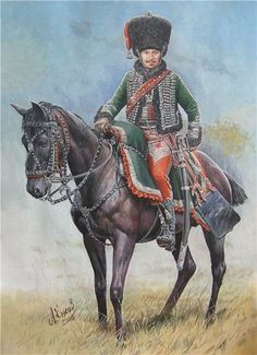 French 8th Hussars Senior Officer in campaign dress 1806.