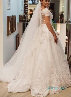 Romance short sleeved sheer lace back princess ball gown